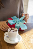 Opening gift romantic coffee Royalty Free Stock Photography