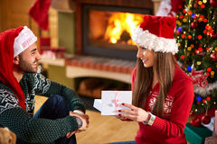 Opening gifts for Christmas Royalty Free Stock Photo