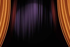 Gold and red stage curtains in dark theater for a live performance background. Opening gold and red stage curtains in dark theater for a live performance stock image