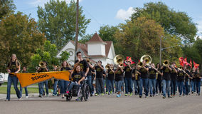 Opening group during homecoming. CALDWELL, IDAHO/USA - SEPTEMBER 27: The high school band plays music at the Caldwell High School Homecoming parade on September Stock Photos