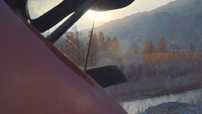 The opening of the high mountains of Altai and the sun`s rays in winter or autumn. stock video