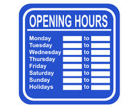 Opening hours. A typical sign showing the opening hours of a shop stock illustration