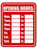 Opening Hours Sign EPS. A blank sign template for store opening hours. Available in vector EPS format vector illustration