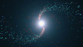 Opening intro Flash light, Lens flare, Red and blue particles. 3d render Stock Image