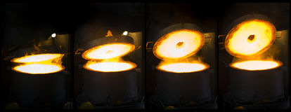 Opening Iron Furnace Montage Royalty Free Stock Images