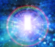 Opening of Light. Encircled by Rainbow Royalty Free Stock Photography