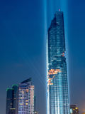 Opening light show of skyscraper building in Bangkok Royalty Free Stock Images