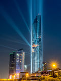 Opening light show of skyscraper building in Bangkok Stock Photography