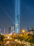 Opening light show of skyscraper building in Bangkok Stock Images