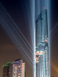 Opening light show of skyscraper building in Bangkok Royalty Free Stock Image