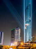 Opening light show of skyscraper building in Bangkok Royalty Free Stock Photos
