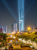 Opening light show of skyscraper building in Bangkok Stock Image