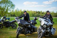 Opening of Lithuanian bikers season, meeting in rural tourism homestead, portraits. royalty free stock photo