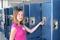 Opening a locker Stock Image