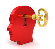 Opening mind with a key concept 3d illustration Stock Photo