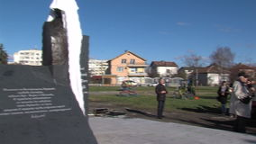 Opening of the monument to Academician Likhachev. The meeting in Sofia, Bulgaria stock video