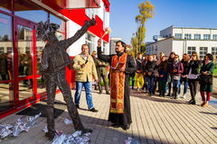 Opening of the monument to Andy Warhol in Uzhgorod Royalty Free Stock Images