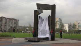The opening of the monument to Soviet soldiers in Afghanistan. 4K. stock video footage