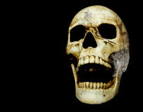 Opening mouth human skull double exposure with moon surface Royalty Free Stock Photos