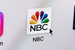 Opening NBC tv web page. New york, USA - March 8, 2018: Opening NBC tv  web page on laptop screen close-up. Cursor on computer icon Stock Photos
