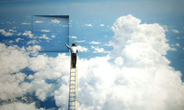 Opening new doors. Mixed media. Businessman standing on ladder and climbing up to window. Mixed media vector illustration