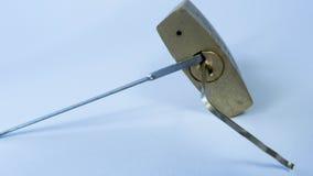 Opening a padlock Stock Image