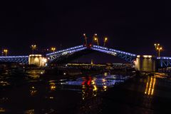 Opening a Palace drawbridge. Neva River, Saint Petersburg. August 2017. Night photography Royalty Free Stock Photography