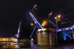 Opening a Palace drawbridge. Neva River, Saint Petersburg. August 2017. Night photography Stock Image