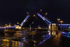 Opening a Palace drawbridge. Neva River, Saint Petersburg. August 2017. Night photography Stock Images