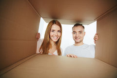 Opening parcel Royalty Free Stock Photography