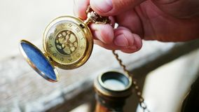Opening a pocket watch. Opening a vintage pocket watch stock video footage