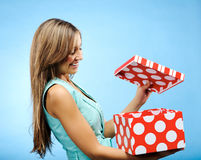 Opening a present Royalty Free Stock Photos