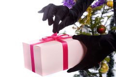Opening present Royalty Free Stock Photos