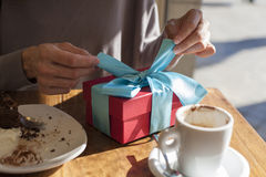 Opening present at cafe Stock Photography