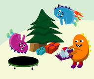 Opening Presents. Three Monster Children Opening Christmas Presents stock illustration