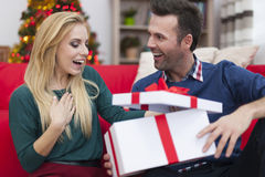 Opening presents royalty free stock images