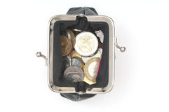 Opening purse with coins Stock Photography