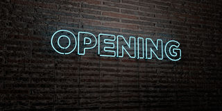 OPENING -Realistic Neon Sign on Brick Wall background - 3D rendered royalty free stock image. Can be used for online banner ads and direct mailers Vector Illustration