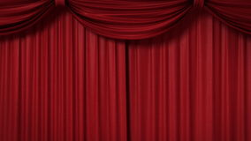 Opening red curtain with spotlights