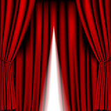 Opening red curtain Stock Photo