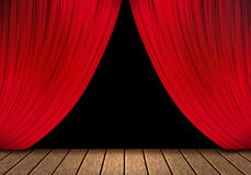 Opening red curtain and wood stage background. Royalty Free Stock Photos