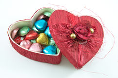Opening Red heart box with chocolate Royalty Free Stock Photos