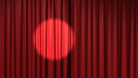 Opening red theatrical curtain with spotlight. 3d animation