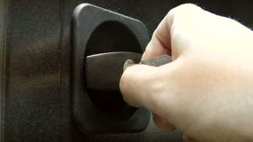 Opening the safe key stock footage