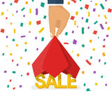 Opening SALE concept. Man hold hand a red silk cloth, opening discounts. Colorful falling confetti isolated on white background. Vector illustration flat Royalty Free Stock Photo