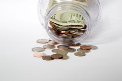 Opening saving jar. Money and opening saving jar Royalty Free Stock Photo