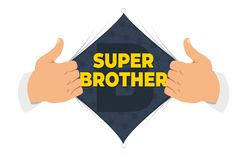 Opening shirt brother vector illustration. Man open shirt to show `Brother` sign in flat cartoon style. Open shirt, good brother, elder brother, protection royalty free illustration