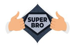 Opening shirt brother vector illustration. Man open shirt to show `Brother` sign in flat cartoon style. Open shirt, good brother, elder brother, protection stock illustration