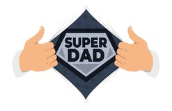 Opening shirt Dad vector illustration. Man open shirt to show `Dad` sign in flat cartoon style. Open shirt, good father, protection, support. Concept of a vector illustration
