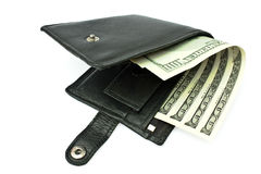 Opening slightly a purse with a money. Isolated opening slightly a purse with a money on a white backround Royalty Free Stock Photo
